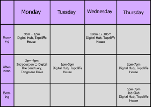 Digital Hub timetable